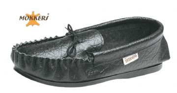 Men's Leather Moccasins Slippers & Hard Sole BLACK